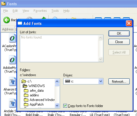 picture of Add Font window in XP