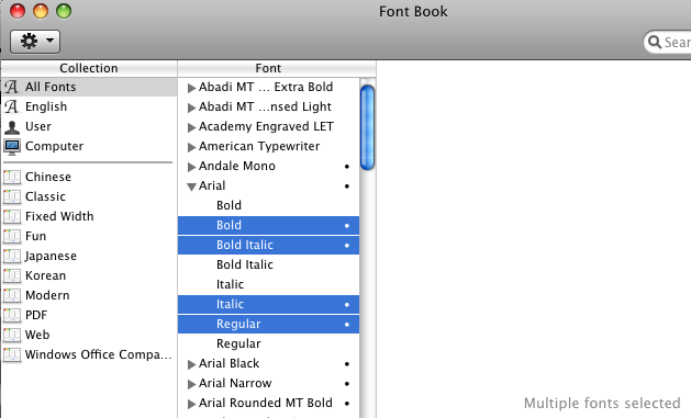 preferred duplicates selected in FontBook