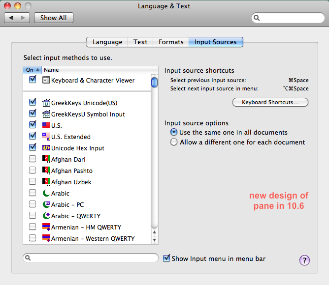 picture of Input Sources pane Mac 10.6
