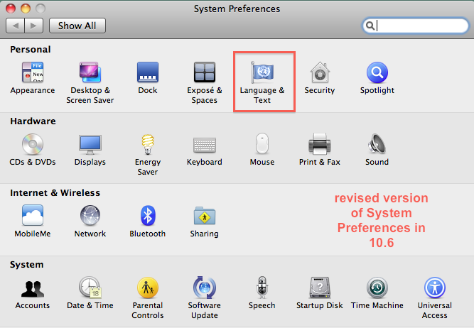 picture of Languages & Text System Preference Mac 10.6